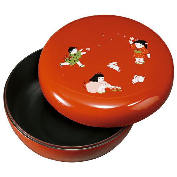 紀州塗り 6寸 菓子器 ほほえみわらべ(大)の商品画像