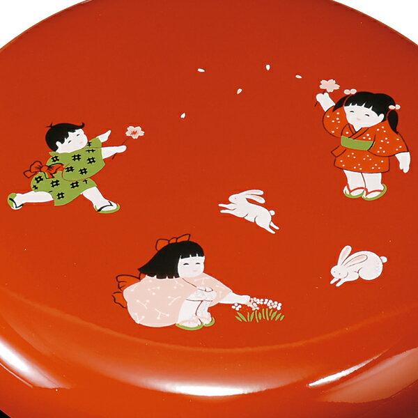紀州塗り 6寸 菓子器 ほほえみわらべ(大)の紹介画像2