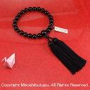 ■男性用念珠(数珠)■ 黒オニキス(ブラックオニキス)22珠 黒房  【送料無料】