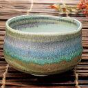 緑彩流し 抹茶碗 抹茶椀 手造り 手描き せともの 食器 お茶 緑茶 店頭受取対応商品