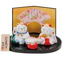 福招き雛(白磁) SA-230 ひな祭り(雛人形・お雛・ひな人形・土雛)(招き猫)【店頭受取対応商品】