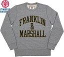 FRANKLIN&MARSHALL/フランクリンアンドマーシャル Men's round neck sweatshirtメンズ クルーネック スウェットシャツ/アップリケアーチロゴ入り、トレーナー SPORT GREY(スポーツグレー)/FLMVA080MW15
