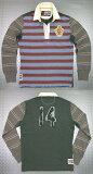 REPLAY (リプレイ) L/S Rugby Shirt(背中アップリケ入り、ラガーシャツ) モカ×ブルー×オリーブ×バーガンディー