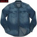 REPLAY/リプレイ M4860M WESTERN STYLE DENIM SHIRT with two breast flap pockets & three-button cuffs.デニムウェスタンシャツDEEP BLUE DENIM(ディープブルーデニム)