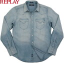 REPLAY/リプレイ M4860M Western style denim shirt with two breast flap pockets & three-button cuffs.デニムウェスタンシャツ