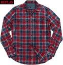 ショッピング板 REPLAY/リプレイ M4987 CHECKED INDIGO BLUE SHIRT CHEST POCKETSインディゴチェックシャツ INDIGO -RED CHECK(レッド×インディゴ)