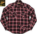 INDIAN MOTORCYCLE/インディアンモーターサイクル OMBRE CHECK L/S WESTERN SHIRT オンブレーチェック 長袖ウェスタンシャツ RED(レッド)/IM27372