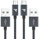 Rampow Micro USB ケーブル【1M/2本組/黒】 2.4A急速充電ケーブル 高速データ転送 7000+回の曲折テスト Sharp Aquos Pad/Zeta, Sony