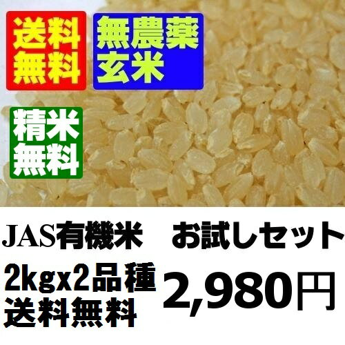 【無農薬玄米】26年産米 お試し玄米セット2kgx2【送料無料】