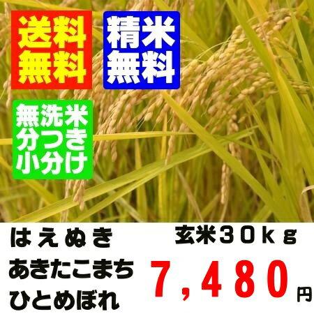 【新米 26年産】山形県産一等米 玄米 30kg はえぬき ひとめぼれ あきたこまち