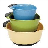レビューで? OXO オクソミキシングボールセット ブルー/グリーン/イエロー Good Grips Mixing Bowl Set with Handles, 3-Piece Blue/Green/