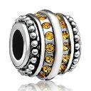 チャーム ブレスレット バングル用 パンドラチャームと適合 LovelyJewelry ラブリージュエリー Love Topaz Yellow Crystal Birthstone Spacer Charm Sale Cheap Jewelry Beads Fit Pandora Charm Bracelets