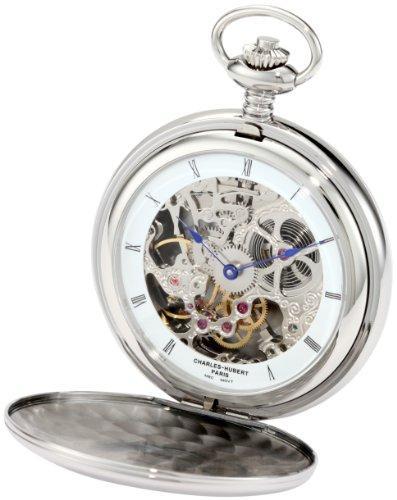 チャールズヒューバート Charles-Hubert, Paris 3904-W Premium Collection Stainless Steel Polished Finish Double Hunter Case Mechanical Pocket Watch ポケットウォッチ メンズ レディース 懐中時計 腕時計 送料無料
