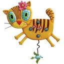 """アレン デザイン 振り子時計 Allen Designs Kimi Kitty Cat Clock"""" 【 キミ キティ 猫 キャッツ オレンジ 置き時計 掛け時計 】 P1076 .."""