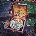 真鍮製 日時計 コンパス 真ちゅう サンダイアル Antique Sundial Compass Round Tripod Base Brass Vintage Maritime Navigation with Wooden Box Xmas Gift 送料無料 【並行輸入品】
