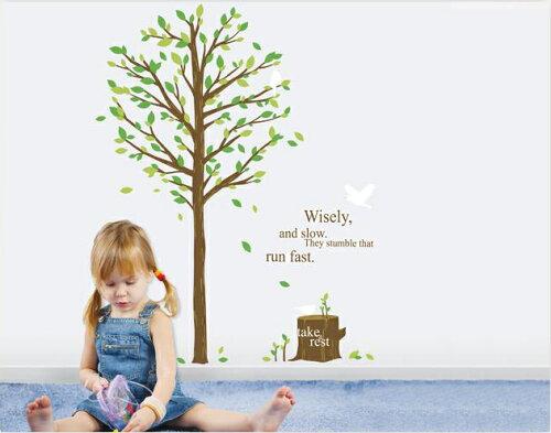 【※在庫のみ 再販なし】 ウォールステッカー 木 【ナチュラルツリー】(緑の木)木と切り株  natural tree of wall sticker グリーン&バード アルファベット シール式ウォールステッカー ホームデコレーション