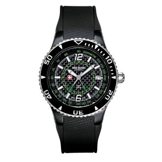 SWISS MILITARY ( swismiglitary ) by Grovana GMT date carbon black / green 1606.1874 02P04oct13