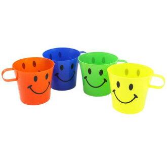杯 caraflmag 杯 4 設置微笑驚喜白色塑膠杯戶外休閒用品店