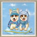ニットキャップ ツイン Sサイズ オイルペイントアート 動物画 OP-07038 33x33cm 油絵 額付き 犬 かわいいインテリア 取寄品 マシュマロポップ
