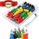 CESFONJERバインディングポストコネクタ| 4mmバナナソケット| スピーカー端子| 25個バインディングポストメスソケットジャック(5色)