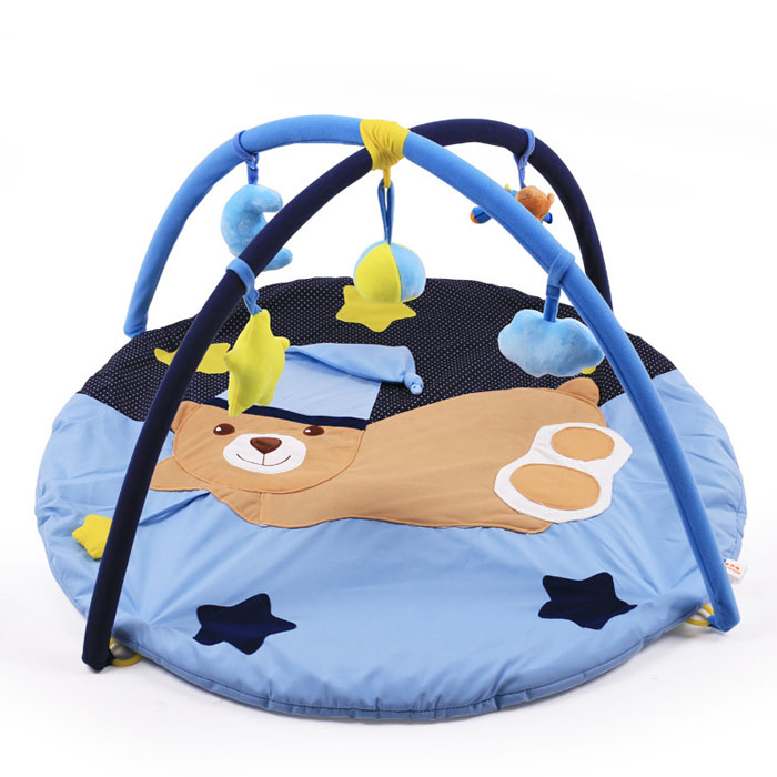 ベビージムプレイマット布製ふわふわ赤ちゃんおもちゃ知育玩具ベビー室内遊具男女兼用指遊びメリーくま星ブ