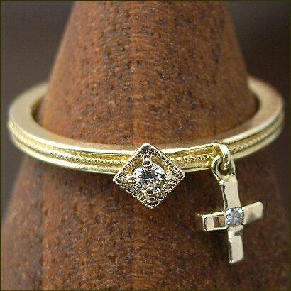 ゆらゆら ダイヤ ピンキーリング 0.03ct クラシカル デザイン ダイヤモンドリング ※サイズ0番から対応 クロスダイヤが手もとでゆれる!
