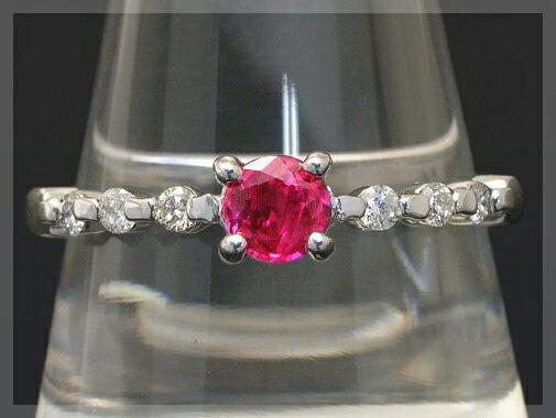 K18 一粒 ルビー 4mm ダイヤモンド リング【送料無料】7月の誕生石 女性の憧れ・・・鮮やかレッドカラー上質ルビー!