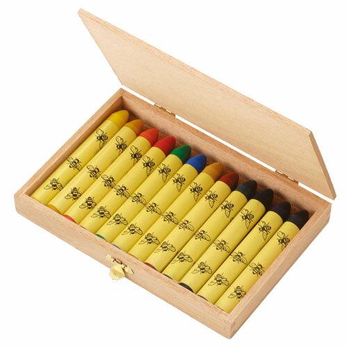 Germany, エコノーム, beeswax crayons, 12 color set, wooden box