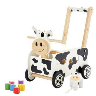 【代引・送料無料】木のおもちゃI'mTOYアイムトイ手押し車&乗用玩具ウォーカー&ライドカウ