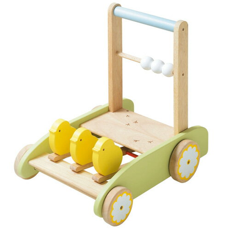 木のおもちゃ車ニチガンカタカタ手押し車おさんぽpipi(おさんぽピピ)木のおもちゃお誕生日知育玩具1