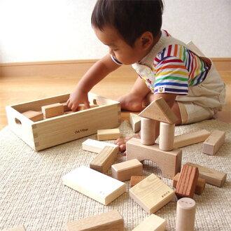 オークヴィレッジ・OakVillage白木・無塗装の木のおもちゃ寄木の積木(木箱入り)誕生日1歳積み木知育玩具出産祝いお誕生日クリスマスプレゼントギフト