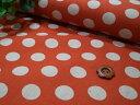 綿麻キャンパス生地 HMHA-29000D 水玉オレンジ  30cmから10cm単位での切り売り【ネコポス便対応】