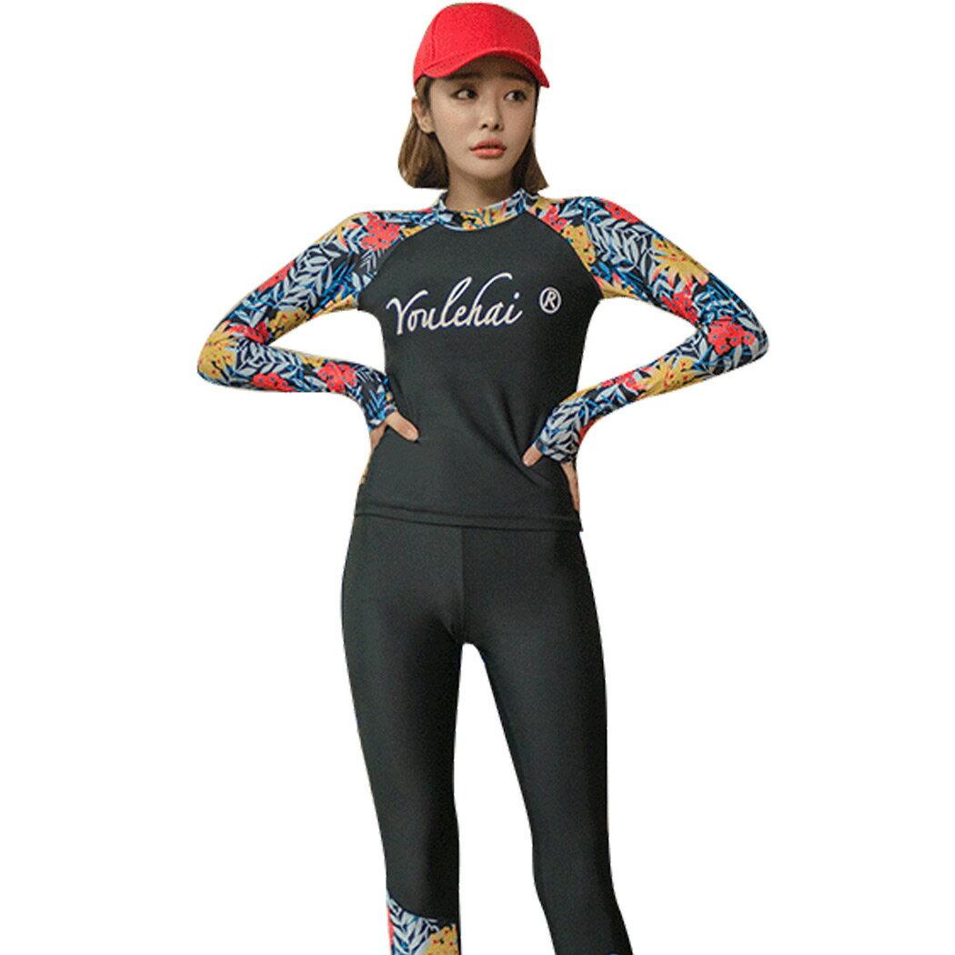 mocomoshop|フィットネス水着 かわいい 体型カバー水着 レディース 長袖 ラッシュガード ショ...