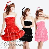サンタ衣装コスプレ三段フリルチューブトップワンピース2点セット人気のタトゥーストッキンが1円購入できるビッグな特典付イベント・パーティーに!
