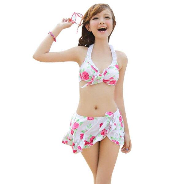 レース水着|水着 レディース ビキニ 上下 ラッフルスカート 3点 セット 花柄 バラ柄 キュート ...