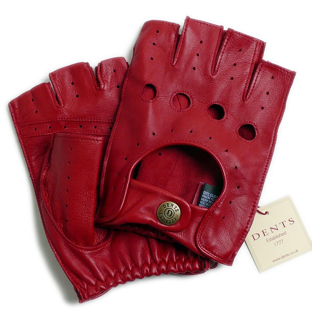 【送料無料】DENTSデンツ カットオフ ドライビング グローブ 5-1009 Berry(レッド)メンズ 手袋 半指指なし メンズ*