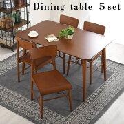 ダイニングセット セット 天然木 ダイニングチェアー 椅子 いす イス 食卓 ダイニングテーブル 送料無料 おしゃれ チェア チェアー 4脚 テーブル 120×75 5点 北欧 机 木製 木製テーブル