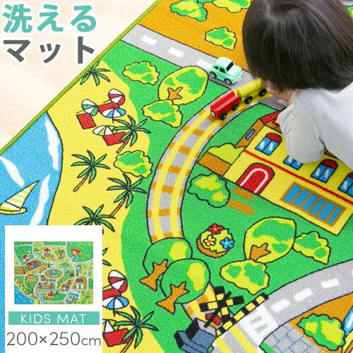 お遊びラグプレイマットルームマットキッズラグ子供部屋撥水加工防汚加工ロードマップ子ども部屋おもちゃ教