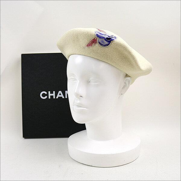 CHANEL シャネル カメリアモチーフウールベレー帽 アイボリー 【中古】