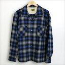TENDERLOIN テンダーロイン 08AW T-WOOL オープンカラーウールチェックシャツ ブルー M【中古】