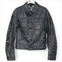 Dior HOMME ディオールオム 04ss デストロイクラッシュ加工コーティングデニムジャケット ブラック 44【中古】