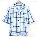 【中古】SUNSEA サンシー FRIED SHRIMP SHIRT FOR DSMG チェック柄半袖シャツ ブルー 2 メンズ
