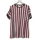 【中古】SHAREEF シャリーフ 17SS ブロックストライプドルマンスリーブTシャツ バーガンディ×グレー 1 メンズ