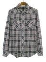 【中古】VADEL バデル 14SS wrinkle western check シワ加工ウエスタンチェックシャツ グレー 48 メンズ
