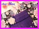 卒業式新品袴スタイル・黒地着物セット・二尺袖着物&紫地刺繍入...
