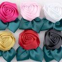 バラ 葉付き 【1個入り】※色は選択できません。リボン 布 手芸材料 ハンドメイド 素材