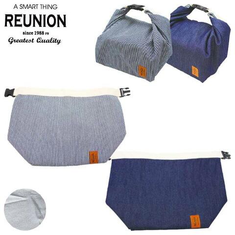 【メール便対応】バックル付デニム保冷バッグL REUNION保冷・保温機能付ランチバッグ。シンプルなおしゃれデニム柄でレディース・メンズに。夫婦でおそろいや共用♪大容量大きめで運動会や遠足、ピクニックに!お重箱入ります。巾着袋・ランチクロス・風呂敷風。