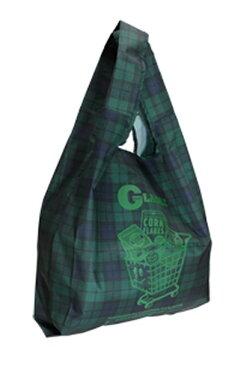 【メール便送料無料】マーケットバッグ グリーンチェック GLADEE グラディー折りたたみでコンパクト軽量軽いエコバック♪おしゃれかわいいレジ袋型折りたたみバッグ。たためる肩がけ折りたたみバック・エコバッグ・マイバッグとしてマザーズバッグのサブバッグに♪