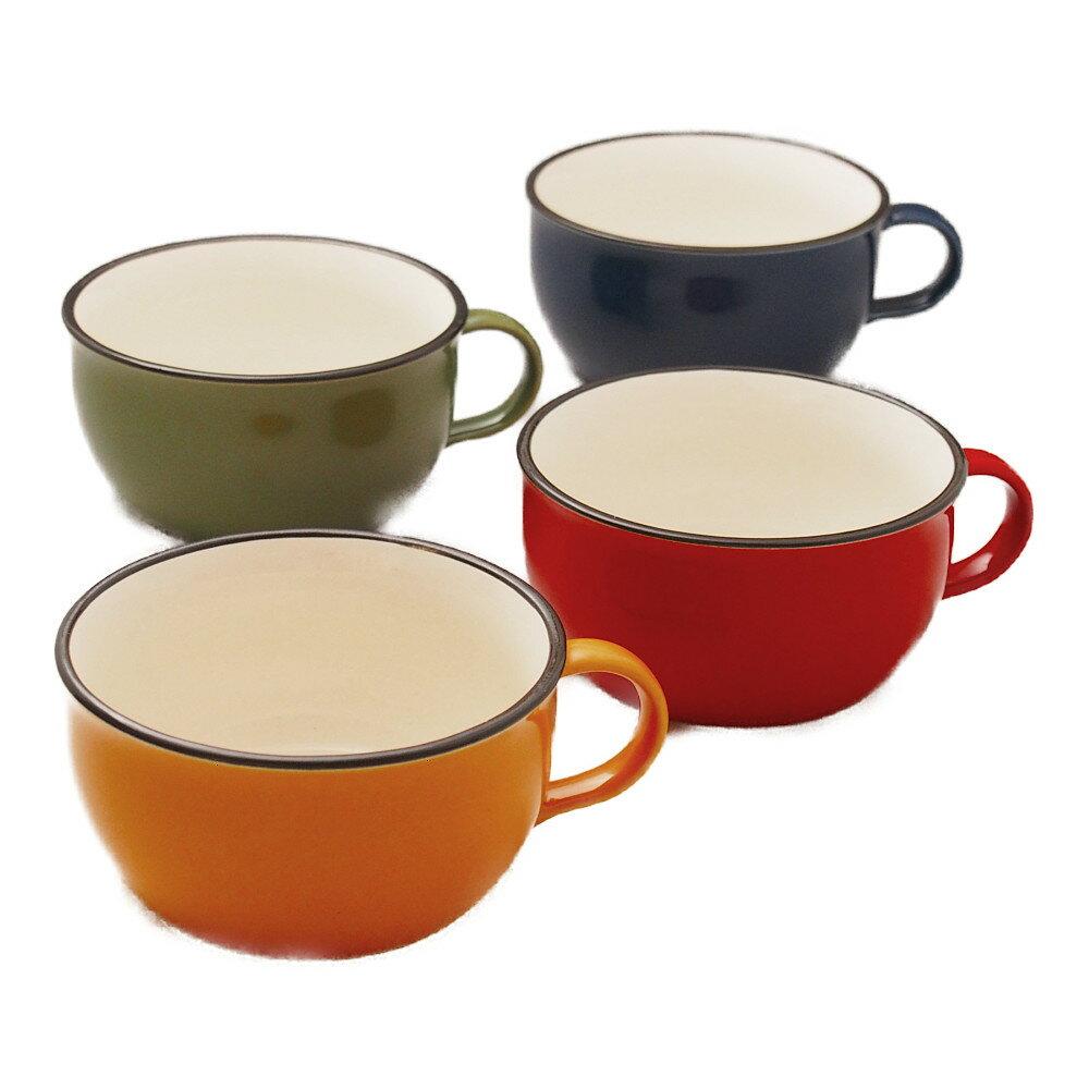たっぷりサイズのスープカップ 4色セット(赤・黄・緑・青)