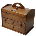 送料無料 木製 ソーイングボックス 大容量 裁縫箱 スウィー...